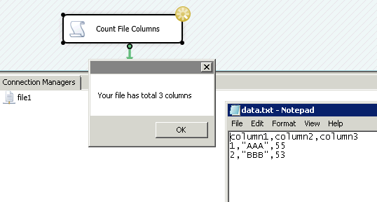 How to count columns in Flat file using C# in SSIS