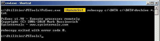 How to launch process on remote machine (PsExec command line