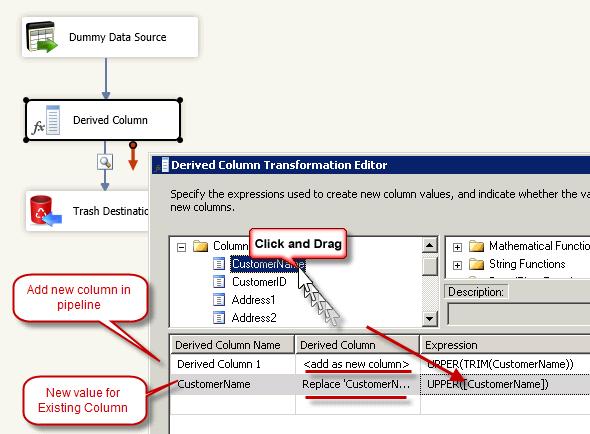 SSIS Derived Column Transform Expression