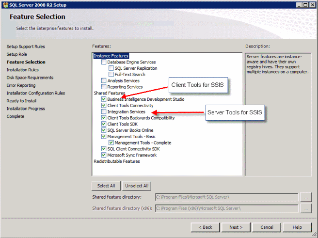 How to install SSIS 2008 Client Tools (i.e. BIDS) and Server Tools