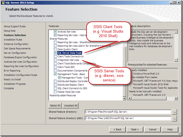 How to Install SSIS 2012 Client Tools and Server Tools
