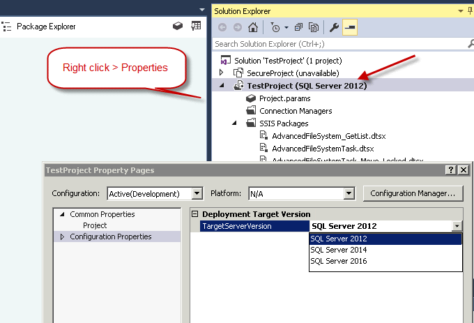 How to open/edit SSIS Packages for Version 2012, SSIS 2014, SSIS 2016 Packages in Visual Studio 2015 (Latest April 2016 Preview)