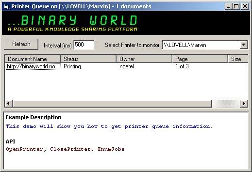 Binaryworld - How to monitor Printer Queue using printer API